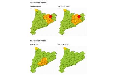 Mapa de risc per presència de neu (foto: CECAT).