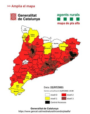 Activat el nivell 3 del Pla Alfa per risc d'incendis forestals.