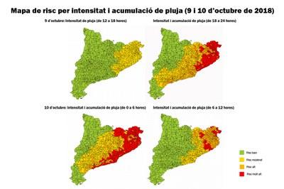 Mapes de risc per intensitat i acumulació de pluja corresponents a aquesta tarda i demà dimecres (foto: CECAT).