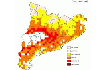 Mapa de predicció de perill per risc d'incendi per aquest dimarts (foto: Gencat.cat).