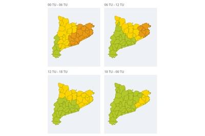 Previsió a partir d'aquesta mitjanit (foto: Servei Meteorològic de Catalunya).