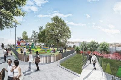 El nou parc de La Serreta disposarà d'una zona de jocs infantils per a nens de 2 a 12 anys (imatge virtual).