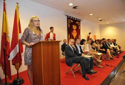 L'alcaldessa de Rubí en un moment del seu discurs durant l'acte de presa de possessió (foto: Localpres)
