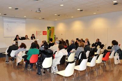La Biblioteca Municipal ha acollit la presentació d'aquesta nova edició del Voluntariat per la Llengua (foto: Localpres).
