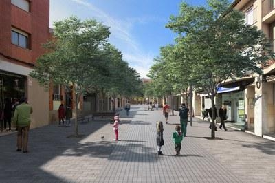 Imatge virtual de la remodelació del carrer Magí Raméntol, situat a l'entorn del Mercat.