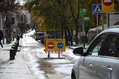 Aquest ha estat el primer cap de setmana en què els carrers Maximí Fornés, Pere Esmendia i Doctor Turró han estat tallats a la circulació (foto: Localpres).