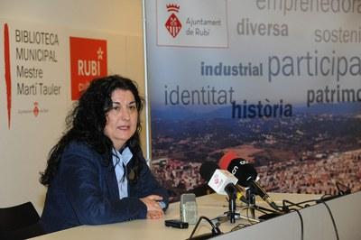 L'alcaldessa, durant la roda de premsa de balanç (foto: Localpres).