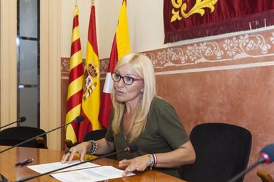 L'alcaldessa en un moment de la roda de premsa (foto: Cesar Font).
