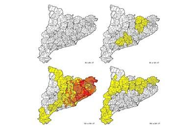 Previsió per aquest divendres. El color groc indica un risc  baix; el taronja, un risc moderat; i el vermell representa un risc alt (foto: CECAT).