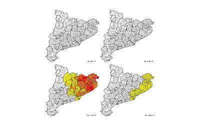 Previsió per dijous. El color groc indica un risc baix, el carbassa representa un risc moderat i el vermell, un risc alt (foto: CECAT).