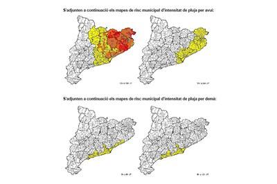 Previsió per aquest dijous i divendres. El color groc indica un risc baix; el carbassa, un risc moderat, mentre que el vermell representa un risc alt (foto: CECAT).