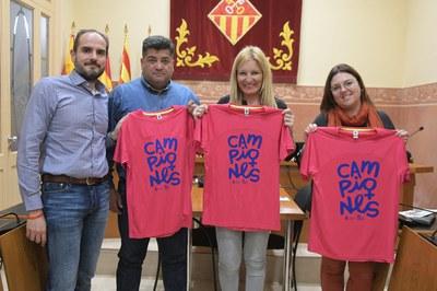 El president de la UAR, el regidor d'Esports, l'alcaldessa i la regidora de Promoció de l'Esport Femení, durant la presentació del Cros (foto: Ajuntament de Rubí – Localpres).