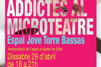 """Cartell d'""""Addictes al microteatre""""."""