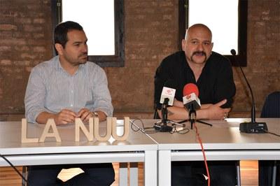 El regidor Jaume Buscallà i el director i comissari de La Nuu, Carles Mercader .