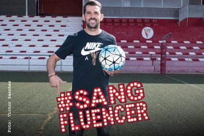 El futbolista rubinenc protagonitza la imatge de la Marató de Rubí (foto: Ajuntament – Localpres).