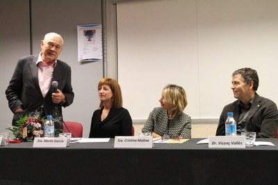 Marta García, amb Eusebi Cima, Cristina Molina i Vicenç Vallès (foto: Ajuntament - Lali Álvarez) .