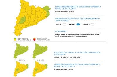 Mapa de la situació meteorològica de perill per vent per aquest dimarts (foto: CECAT).