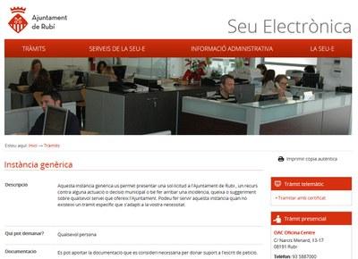 La Seu Electrònica ja disposa dels sistema de presentació d'instàncies.
