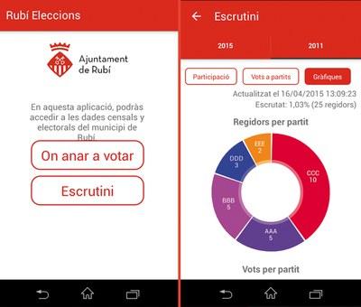 Captures de pantalla de 'l'app', amb dades de prova.