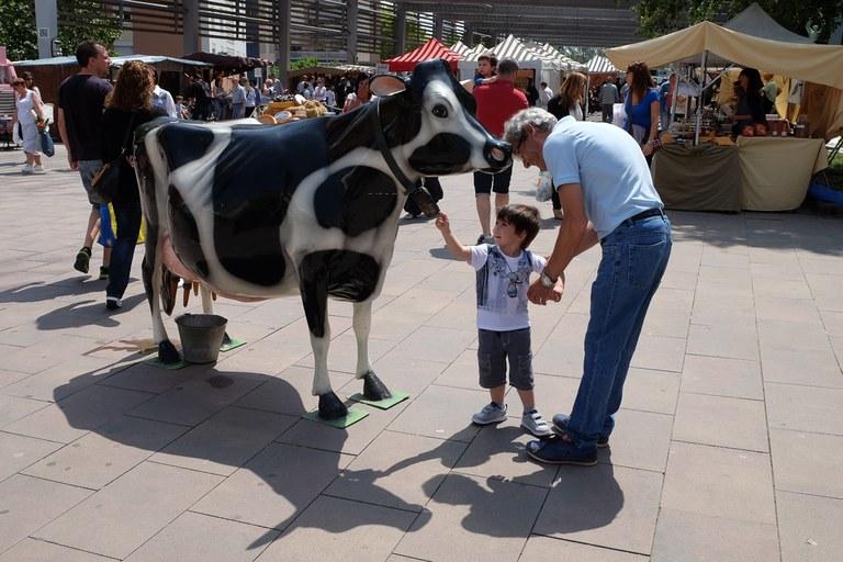 Els nens han pogut munyir una vaca fictícia (foto: Localpres)