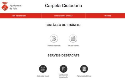 La Carpeta Ciutadana és a la Seu electrònica (foto: Ajuntament de Rubí).