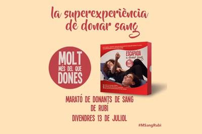 """Les persones que participin a la Marató de donació de sang de Rubí viuran """"L'experiència de la donació""""."""