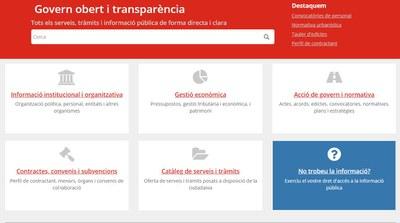 Captura de la web del portal de transparència.