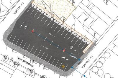 Plànol del projecte d'asfaltatge del solar del carrer Mallorca (foto: Ajuntament).