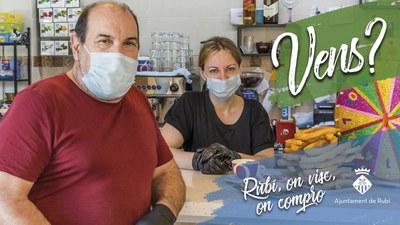 Imatge de la campanya de promoció del comerç local (foto. Ajuntament de Rubí).
