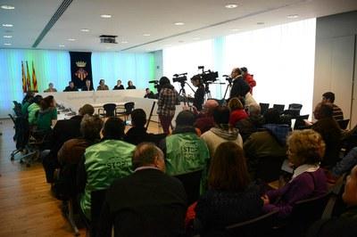 Els ajuntaments de Rubí i Sant Cugat, la PAH i Catalunya Caixa s'han reunit aquest dijous per desencallar la situació (foto: Localpres).