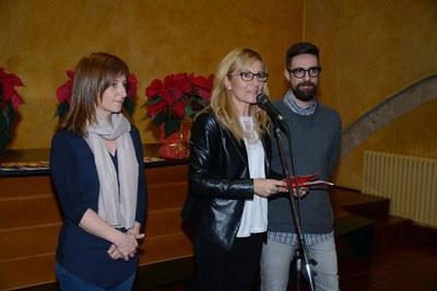 L'alcaldessa ha estat acompanyada del regidor de Cultura i de la regidora de l'Àrea de Serveis a les Persones durant la recepció de Nadal (foto: Localpres)