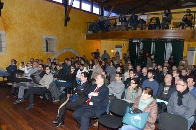 L'alcaldessa, Javier García Breva i una norantena de persones més han assistit a la VIII Jornada tècnica Rubí Brilla (foto: Localpres).