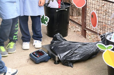 Els alumnes pesen de forma sistemàtica i exacta els residus generats en relació als àpats servits (foto: Campos Estela)