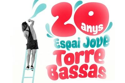 Detall del cartell del 20è aniversari de l'Espai Jove Torre Bassas.
