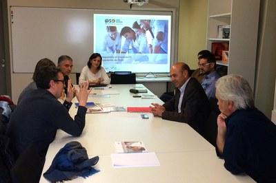 Un moment de la trobada amb els representants de l'Ajuntament de Vilafranca.