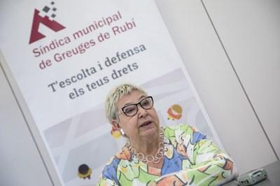 Milagros Calleja, durant la presentació de la Memòria 2018 (Foto: Ajuntament/Lali Puig).