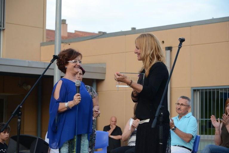 L'alcaldessa, en un moment de l'acte institucional del 10è aniversari de l'Escola Ca n'Alzamora (foto: Localpres)