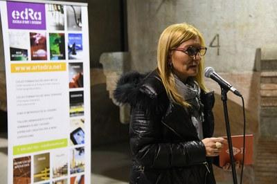 L'alcaldessa ha assistit a la inauguració de l'exposició i ha adreçat unes paraules als assistents (foto: Localpres) .