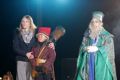 L'alcaldessa, amb el Mag Rubisenc i Melquíades (foto: Localpres)
