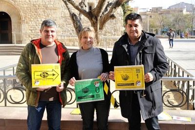 Jaume Serra, Maite Manonelles i Juan López durant la presentació de la travessa davant dels mitjans de comunicació (foto: Localpres).