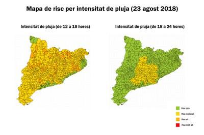 Mapes de risc per intensitat de pluja corresponents a aquesta tarda (foto: CECAT).