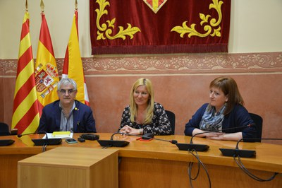 Viñas, Martínez i García a la sala de plens (foto: Ajuntament de Rubí).