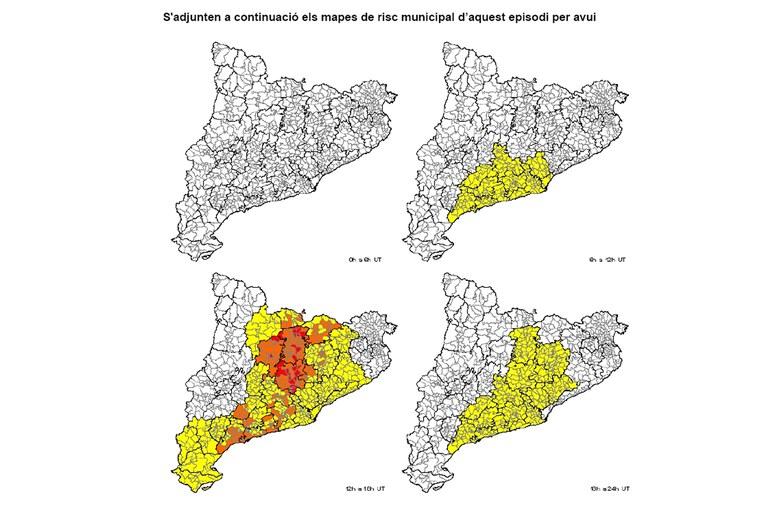 Previsió per aquest dilluns. El color groc indica un risc baix; el carbassa, un risc moderat, mentre que el vermell representa un risc alt (foto: CECAT)