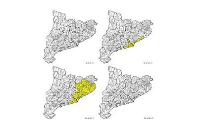 Mapa de risc municipal d'intensitat de pluja relatiu a dissabte. El color groc indica un risc baix (foto: CECAT).