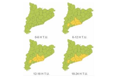 Evolució del perill per vent al llarg d'aquest divendres ─la franja de color groc indica perill moderat─ (foto: CECAT).