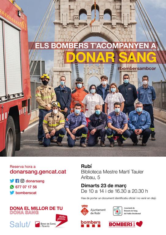 """Cartell de la campanya """"Els Bombers t'acompanyen a donar sang"""""""