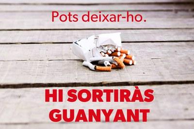 Detall del cartell de sensibilització del Dia Mundial sense Tabac.