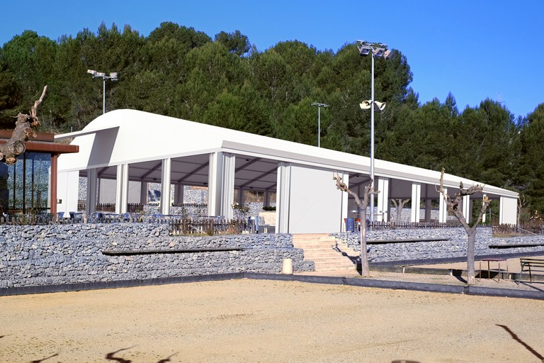 Imatge virtual del cobriment de les pistes de petanca de Cova Solera