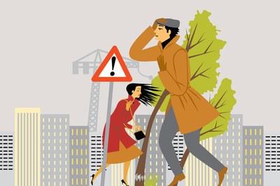 En cas de fort vent, cal extremar les precaucions, tant a casa com al carrer i si se circula en vehicle.