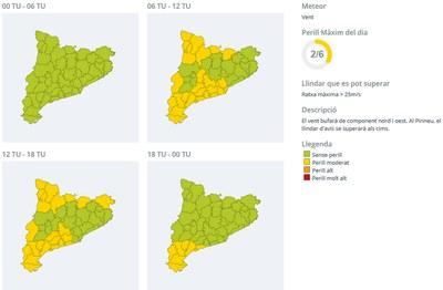 Evolució del perill per vent al llarg d'aquest dimecres ─la franja de color groc indica perill moderat─(foto: CECAT) .